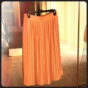 Calf Length Pink Pleated Skirt